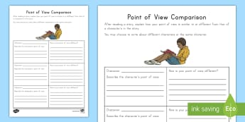 Point of View Comparison Activity Sheet - Literature, Fiction, reading response, text to self connection, comprehension, worksheet