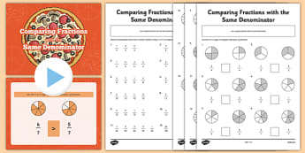 Comparing Fractions with the Same Denominator PowerPoint and Activity Sheets Pack - comparing, fractions, same, denominator, powerpoint, activity, worksheet
