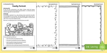 Family Portrait Worksheet / Activity Sheet, worksheet