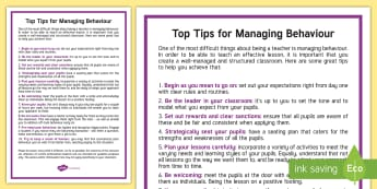 Top Tips for Managing Behaviour  - Behaviour, management, Top tips, support Strategies, KS3