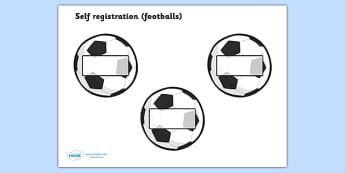 Editable Self Registration Labels (Footballs) - Self registration, register, editable, labels, registration, child name label, printable labels, football, soccer, sport, footballs, world cup
