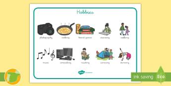 Tapiz de vocabulario: Los pasatiempos - Inglés - hobbies, english, lengua extranjera, vocabulario,Spanish-translation