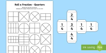 Roll a Fraction Quarters Activity Sheet -  - Year 1 Roll a Fraction Activity Sheet - activities, fractions, frctions, frations, factions, fractio
