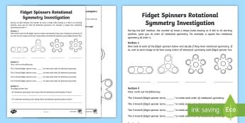KS2 Fidget Spinners Rotational Symmetry Activity Sheet - KS2 , ks2 geometry, KS2 geometry, KS2 geometry, LKS2 geometry, lks2 geometry, UKS2 geometry, uks2 ge