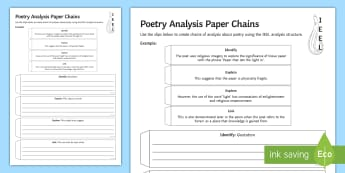 Poetry Analysis Paper Chains Activity Sheet - Poetry, Analysis, KS4, IEEL, Literature, PEE, PEEL,