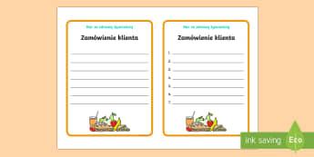 Karty Zamówienie klienta Bar ze zdrową żywnościa  - jedzenie, barek, restauracja, scenki, odżywianie, żywienie, owoce, warzywa,Polish