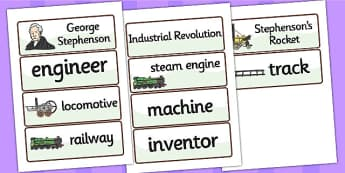 George Stephenson Word Cards - george stephenson, word cards