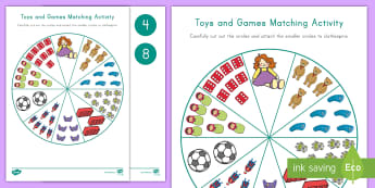 Toys and Games Number Matching Activity - Number Recognition, Rote Counting, Math Center, Pre-K Center, Toys and Games Unit, Toys Unit