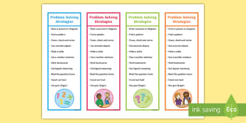 Problem Solving Strategies Editable Bookmarks - prompts, maths, problem solving, hints, strategies,Irish