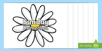 Days of the Week on Flowers English/Italian - Days of the Week on Flowers - days, week, display, visual aid, flashcards, days of the wek, days pf