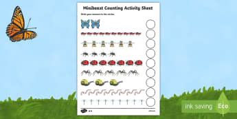 Minibeast Counting Activity Sheet - Counting worksheet, 1-1, one to one,  minibeasts, counting, activity, how many, foundation numeracy, counting on, counting back, living things, snail, bee, ladybird, butterfly, spider