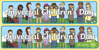 KS1 Universal Children's Day Display Banner - children's rights, display, universal children's day, United Nations, ks1