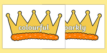 Wow Words on Crowns - Wow words, adjectives, VCOP, describing, Wow, display, poster, wow display, tasty, scary, ugly, beautiful, colourful sharp, bouncy