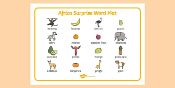 Word Mat Images to Support Teaching on Handa's Surprise - words, literacy, aid, visual