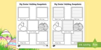 Easter Holiday Snapshots Writing Frame - ESL Holiday Writing