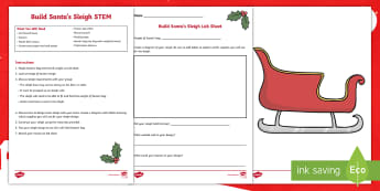 Build Santa a New Sleigh STEM Activity and Resource Pack - Santa, Christmas, STEM, Sleigh, Winter, Science, Engineering