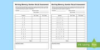 CfE First Level Working Memory Number Recall Assessment Sheet  -  short term, long term, cognitive, attention, Memory Skills, Baseline assessment, Final assessment,S