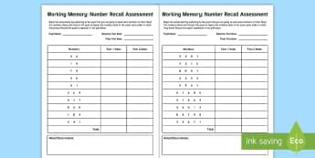 CfE First Level Working Memory Number Recall Assessment Sheet  -  short term, long term, cognitive, attention, Memory Skills, Baseline assessment, Final assessment,S