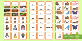 British Sign Language (BSL) Animals Matching Activity Pack - animal, sort, sorting, match, pairs, game, set, photos, signing,