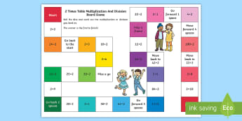 2 Times Table Multiplication and Division Board Game - maths, numbers, times tables, numeracy, australia