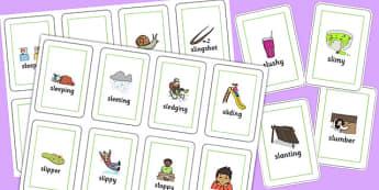 Two Syllable SL Sound Flash Cards - sen, sound, sl sound, sl, sen, two syllable, flash cards
