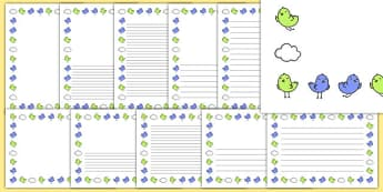 Two Little Dickie Birds Page Borders - Two Little Dickie Birds, nursery rhyme, Literacy, writing, page border, a4 border, template, writing aid, writing border, page template, rhyme, rhyming, nursery rhyme story, nursery rhymes, Two Little Dickie Bir