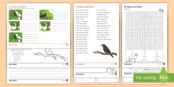 Spanish Literature Activity Pack to Support Teaching on 'El Cuervo y el Zorro' by Samaniego Spanish - literature, fable, moral, authentic, texts, Spanish, KS3, felix, samaniego