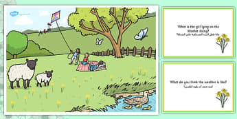 Spring Park Scene and Question Cards Arabic Translation - arabic, spring, spring park, questions, comprehension pack