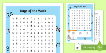 Days of the Week Word Search - days, week, weekend, calendar