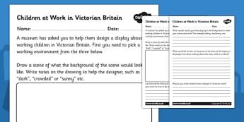 Children Working in Victorian Britain Worksheet - the victorians, victorian working conditions worksheet, children working in victorian britain, history