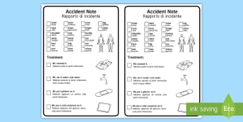 EAL Visual Accident Form English/Italian - EAL Visual Accident Note - eal, visual, accident note, note, form