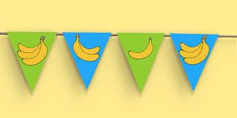 Fairtrade Fortnight Banana Themed Bunting - fairtrade fortnight, banana, fairtrade banana, bunting, display
