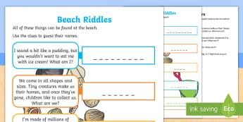Beach Riddles Activity Sheet - seaside, holidays, activity, words, family, worksheet