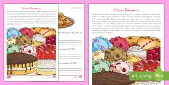 School Desserts Point of View Worksheet / Activity Sheet - opinion, Reading response, Comparing, Argument, informational text, work on writing, Daily Five, wor
