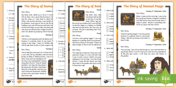 KS1 The Diary of Samuel Pepys Differentiated Reading Comprehension Activity - Samuel Pepy's diary, Samuel Peeps diary, samuel peyps, samuel pepys Information, samuel pepys Fact