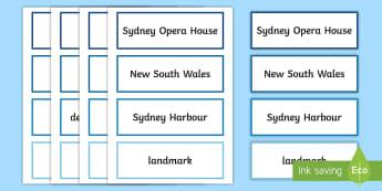 Sydney Opera House Word Cards - Vocabulary, Australian landmark, australian geography, famous buildings, word wall