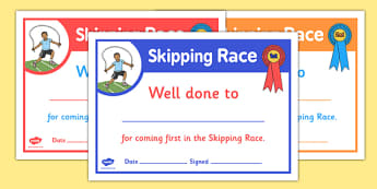 Sports Day Skipping Race Certificates - sports day, certificates