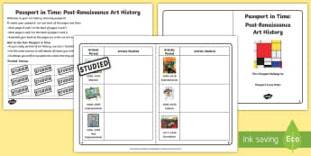 Passport in Time: Post-Renaissance Art History Checklist - Impressionism, pop art, cubism, surrealism, famous artists, Art Movements, picasso, van gogh, kandin
