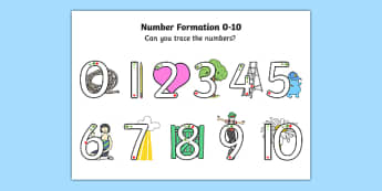 Number Formation 0 to 10 SEN Activity Sheet, worksheet, overwriting