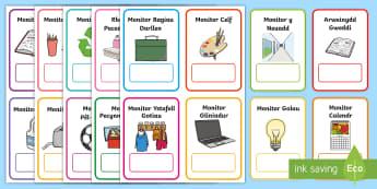 Cardiau Swyddi Monitoriaid - negesydd, messenger, monitor, monitors, helpwyr, helpers.,Welsh, Diwrnod cyntaf