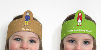 Role Play Headbands to Support Teaching on Mr Wolfs Pancakes - roleplay, props, story