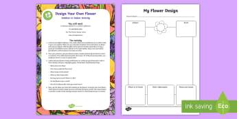 Design a Flower Activity Sheet - Worksheet, parents, holidays, activities, outdoor, learning, garden, summer, family