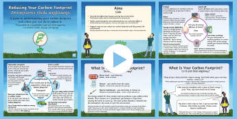 Earth Day: Reducing Your Carbon Footprint PowerPoint English/Polish - KS2, Year 3, Year 4, Year 5, Year 6, Earth Day, information, climate change, carbon footprint, reduc