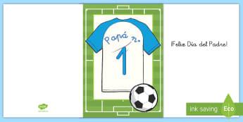 Felicitación: Camiseta de fútbol - Día del Padre - día del padre, padre, papá, papi, felicitación, fútbol, camiseta, manualidad, regalo, tarjeta, ,