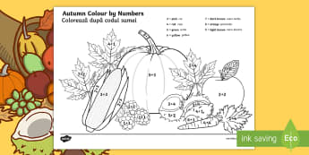 Autumn-Themed Colour by Addition to 10 English/Romanian - seasons, add, adding, +, adition, seaons, autmn, additon, EAL