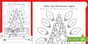 Color the Christmas Lights Activity Sheet - Christmas Activity Sheet, Color Words, Sight Words, Coloring Practice, Color Identification