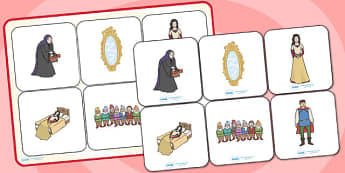 Snow White and the Seven Dwarves Matching Cards and Board - snow white and the seven dwarfs, snow white picture matching game, snow white matching activity
