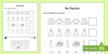 Clothes Patterns Cut and Paste Activity Sheet Gaeilge - ROI, Clothes, Gaeilge, colour, vocabulary, vocab, words, phrase, language, Éadaí, pattern, sequenc