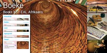 Imagine Books KS1 Resource Pack - Afrikaans - Book, Setting, Read, Manuscript, Tunnel, Reader, Reading, Parcel, Afrikaans, EAL