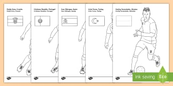 International Footballers Colouring Pages English/Afrikaans - ball, game, players, cup, team, beker, spelers, EAL, woprld cup 2018, football, russia